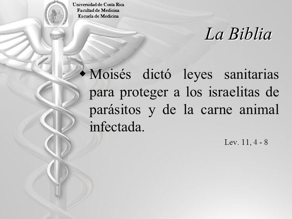 La Biblia Moisés dictó leyes sanitarias para proteger a los israelitas de parásitos y de la carne animal infectada. Lev. 11, 4 - 8 Universidad de Cost