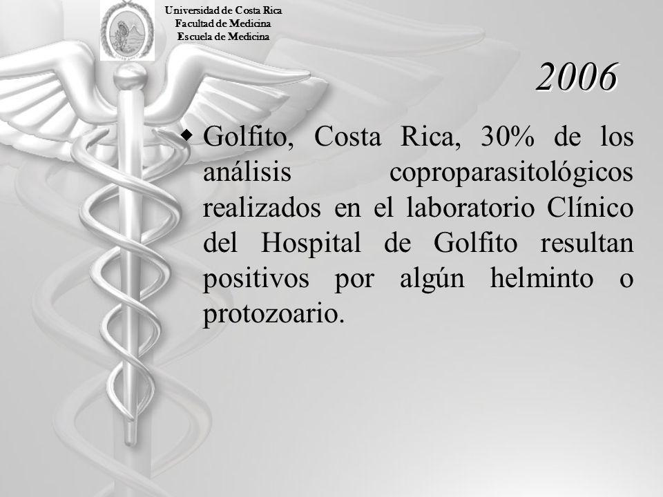 2006 Golfito, Costa Rica, 30% de los análisis coproparasitológicos realizados en el laboratorio Clínico del Hospital de Golfito resultan positivos por