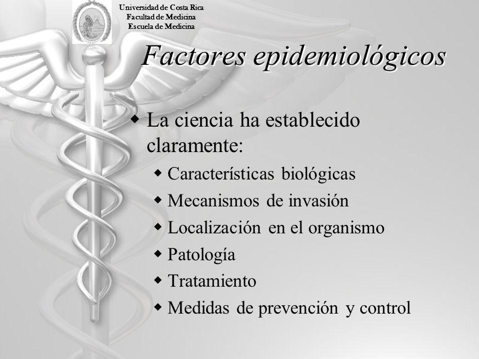 Factores epidemiológicos La ciencia ha establecido claramente: Características biológicas Mecanismos de invasión Localización en el organismo Patologí