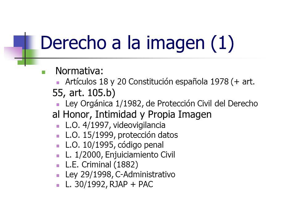 Derecho a la imagen (1) Normativa: Artículos 18 y 20 Constitución española 1978 (+ art.