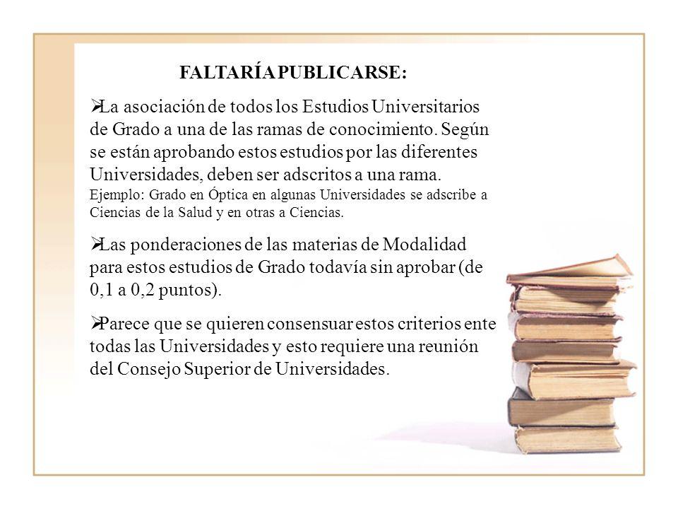 FALTARÍA PUBLICARSE: La asociación de todos los Estudios Universitarios de Grado a una de las ramas de conocimiento.