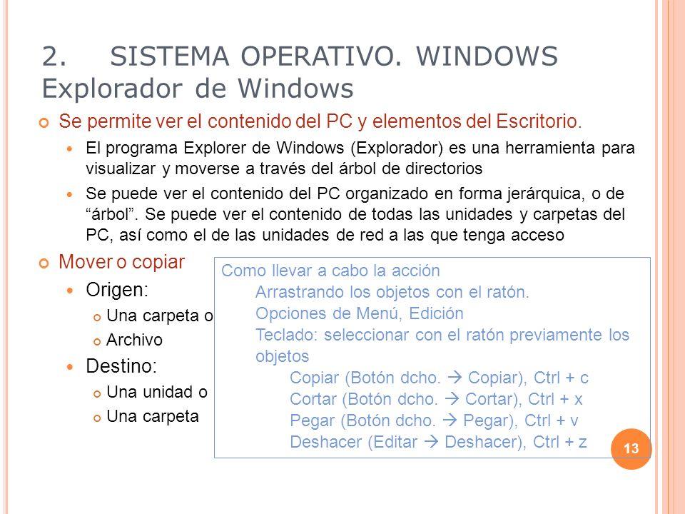 Se permite ver el contenido del PC y elementos del Escritorio. El programa Explorer de Windows (Explorador) es una herramienta para visualizar y mover