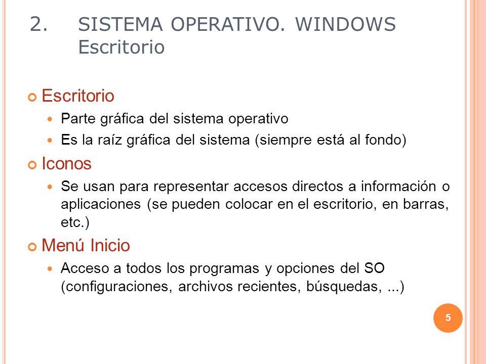 Escritorio Parte gráfica del sistema operativo Es la raíz gráfica del sistema (siempre está al fondo) Iconos Se usan para representar accesos directos