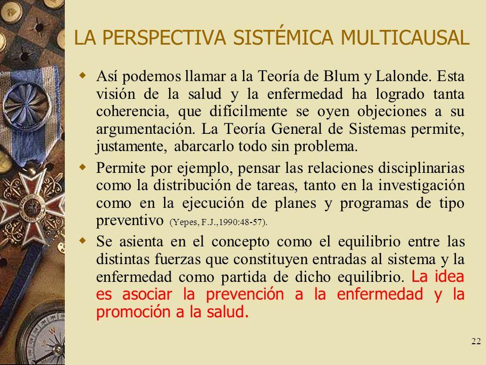 22 LA PERSPECTIVA SISTÉMICA MULTICAUSAL Así podemos llamar a la Teoría de Blum y Lalonde. Esta visión de la salud y la enfermedad ha logrado tanta coh
