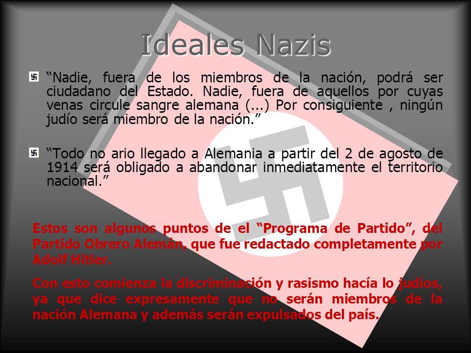 Ideales Nazis Nadie, fuera de los miembros de la nación, podrá ser ciudadano del Estado. Nadie, fuera de aquellos por cuyas venas circule sangre alema