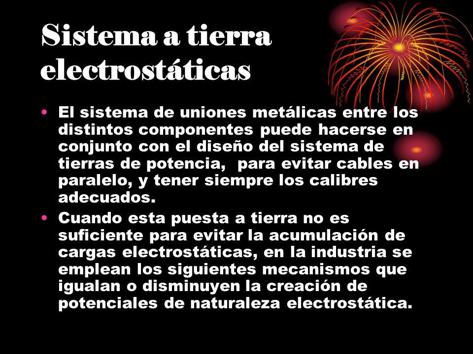Sistema a tierra electrostáticas El sistema de uniones metálicas entre los distintos componentes puede hacerse en conjunto con el diseño del sistema d