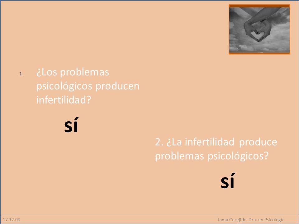 Inma Cerejido. Dra. en Psicología 1. ¿Los problemas psicológicos producen infertilidad? 17.12.09 2. ¿La infertilidad produce problemas psicológicos? s