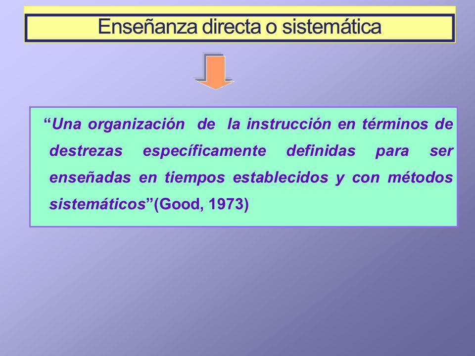 Una organización de la instrucción en términos de destrezas específicamente definidas para ser enseñadas en tiempos establecidos y con métodos sistemá