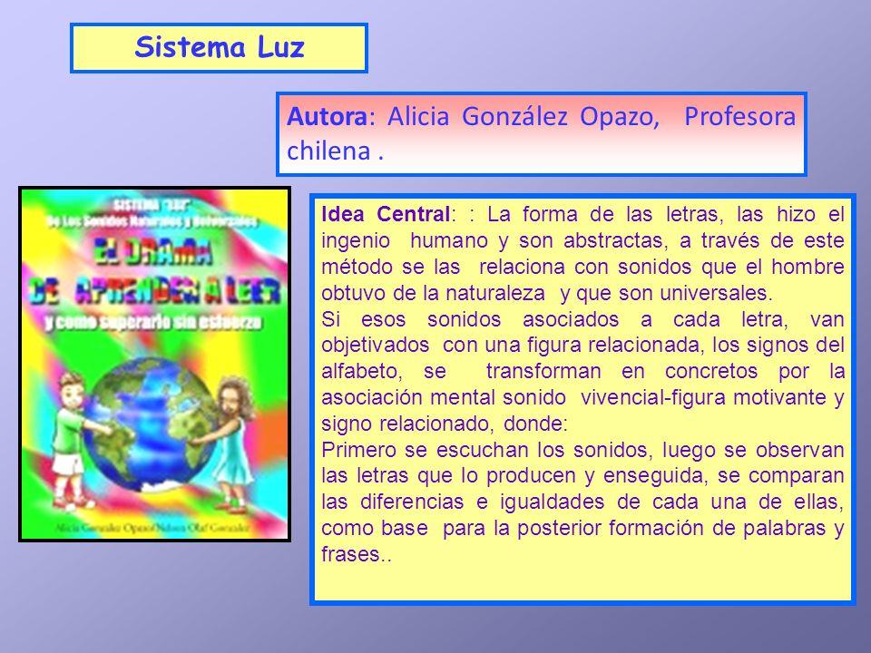Autora: Alicia González Opazo, Profesora chilena. Sistema Luz Idea Central: : La forma de las letras, las hizo el ingenio humano y son abstractas, a t