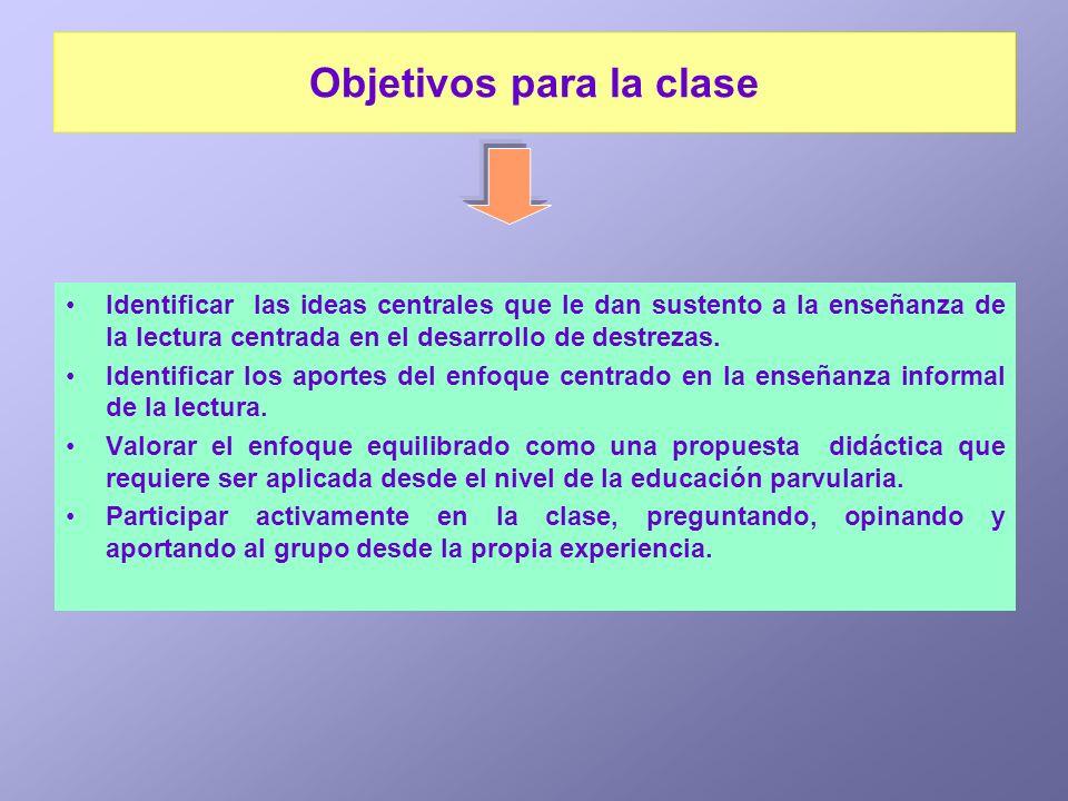 Objetivos para la clase Identificar las ideas centrales que le dan sustento a la enseñanza de la lectura centrada en el desarrollo de destrezas. Ident