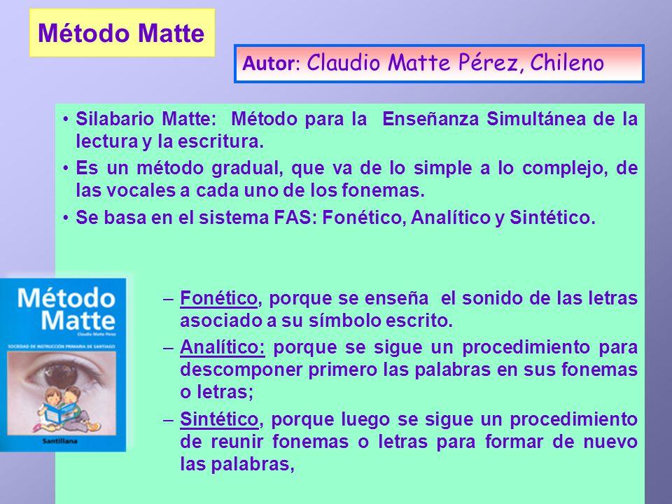 Método Matte Silabario Matte: Método para la Enseñanza Simultánea de la lectura y la escritura. Es un método gradual, que va de lo simple a lo complej