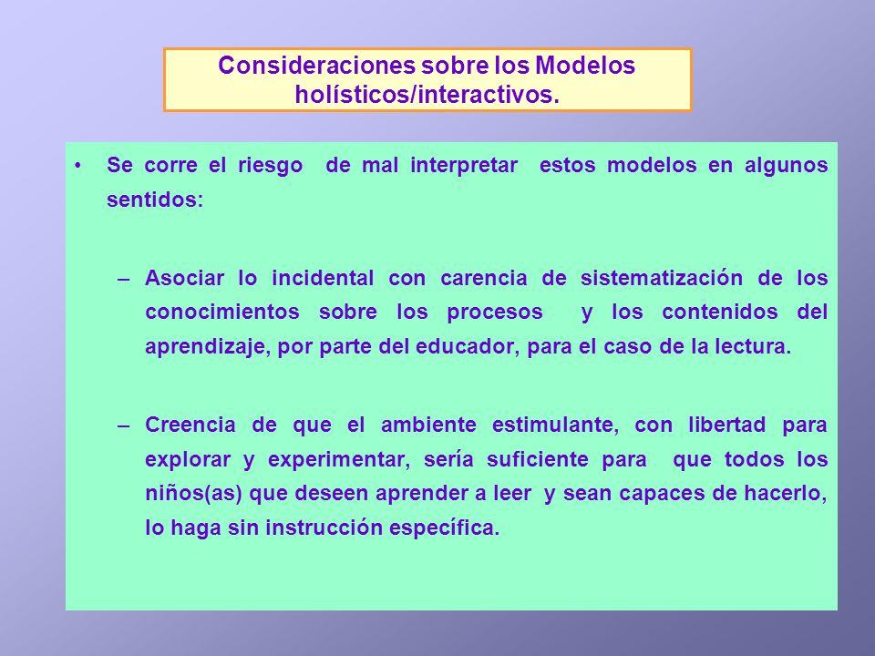 Consideraciones sobre los Modelos holísticos/interactivos. Se corre el riesgo de mal interpretar estos modelos en algunos sentidos: –Asociar lo incide