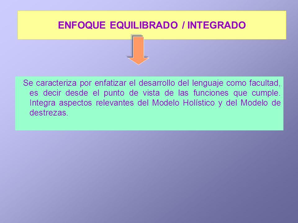 ENFOQUE EQUILIBRADO / INTEGRADO Se caracteriza por enfatizar el desarrollo del lenguaje como facultad, es decir desde el punto de vista de las funcion