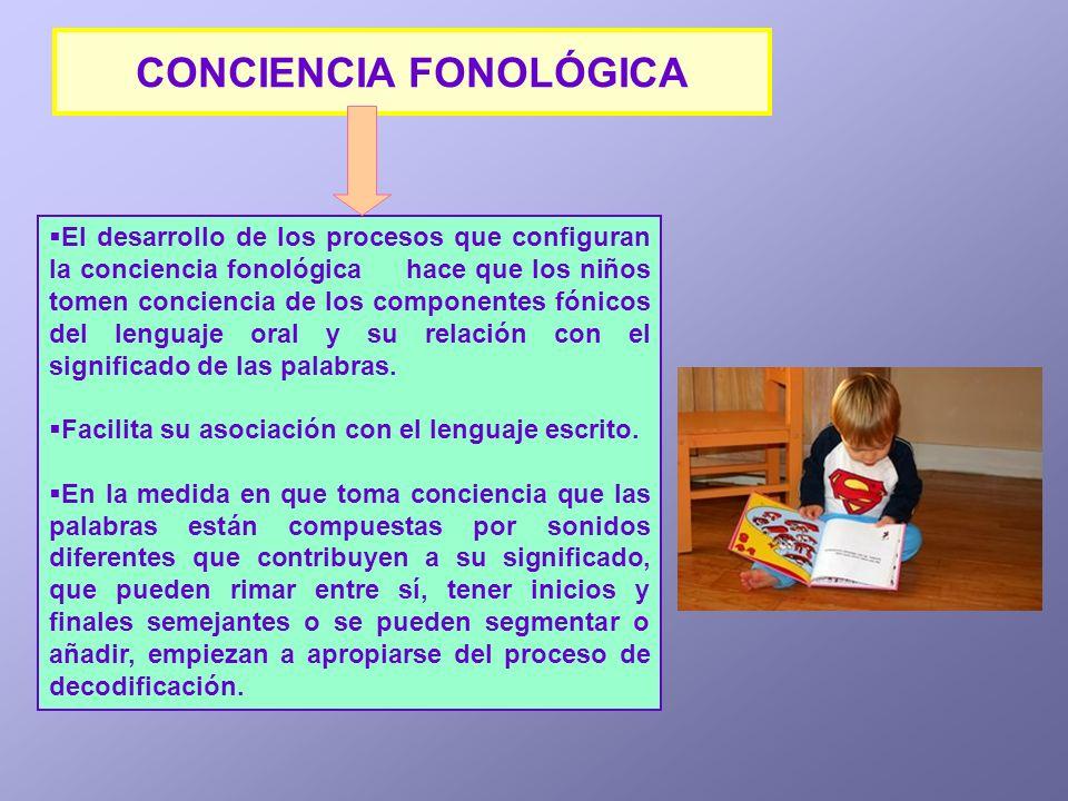 El desarrollo de los procesos que configuran la conciencia fonológica hace que los niños tomen conciencia de los componentes fónicos del lenguaje oral