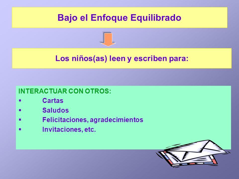INTERACTUAR CON OTROS: Cartas Saludos Felicitaciones, agradecimientos Invitaciones, etc. Los niños(as) leen y escriben para: Bajo el Enfoque Equilibra