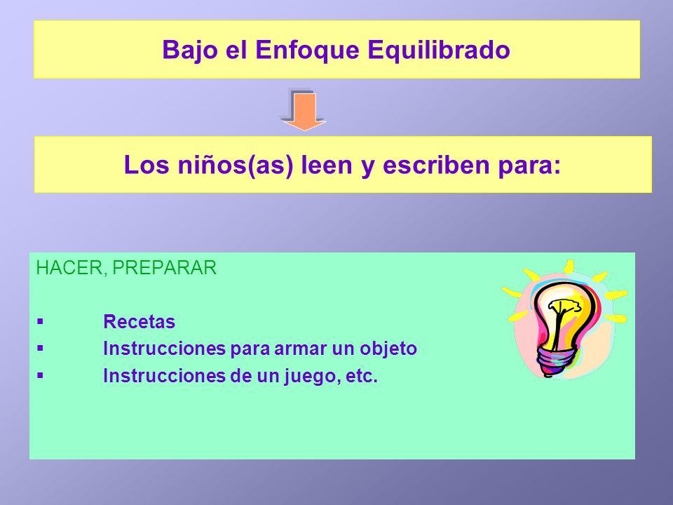 HACER, PREPARAR Recetas Instrucciones para armar un objeto Instrucciones de un juego, etc. Los niños(as) leen y escriben para: Bajo el Enfoque Equilib