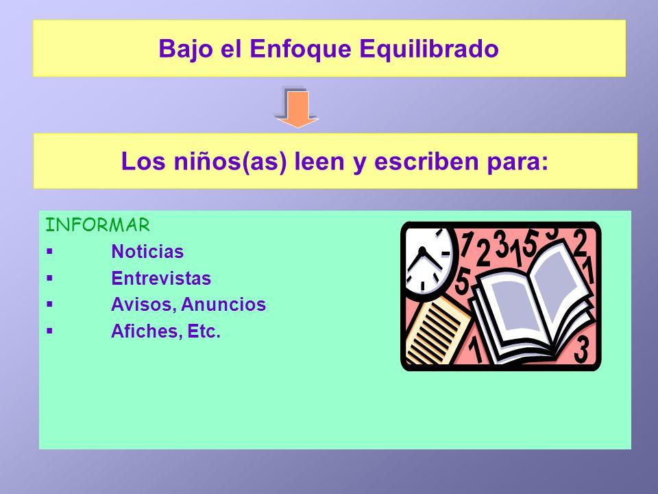 INFORMAR Noticias Entrevistas Avisos, Anuncios Afiches, Etc. Los niños(as) leen y escriben para: Bajo el Enfoque Equilibrado