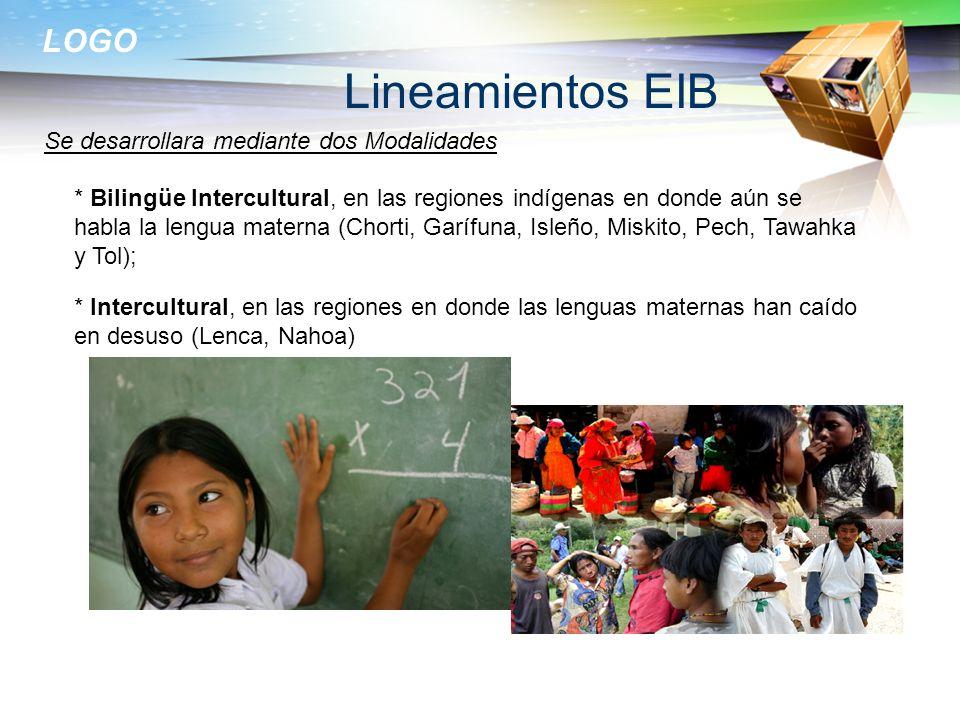 LOGO Lineamientos EIB * Bilingüe Intercultural, en las regiones indígenas en donde aún se habla la lengua materna (Chorti, Garífuna, Isleño, Miskito,