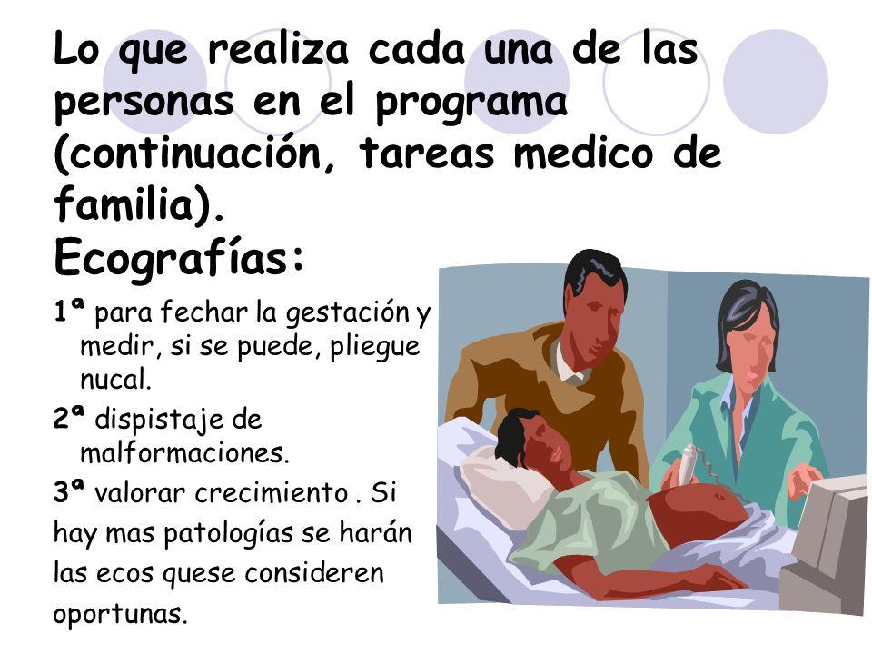 10 Lo que realiza cada una de las personas en el programa (continuación, tareas medico de familia). Ecografías: 1ª para fechar la gestación y medir, s