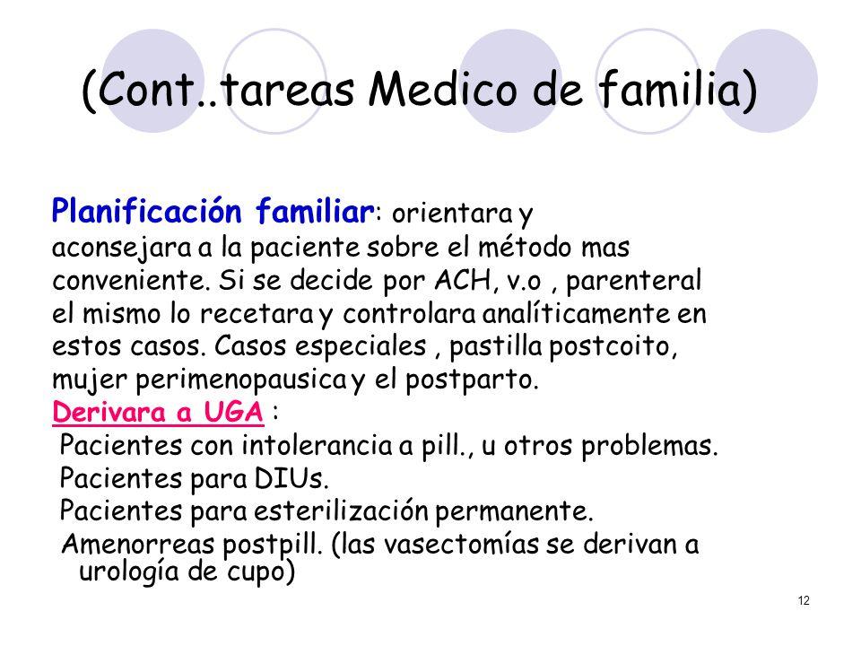 12 (Cont..tareas Medico de familia) Planificación familiar : orientara y aconsejara a la paciente sobre el método mas conveniente. Si se decide por AC
