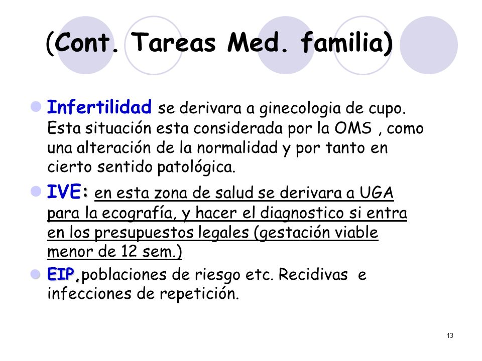 13 (Cont. Tareas Med. familia) Infertilidad se derivara a ginecologia de cupo. Esta situación esta considerada por la OMS, como una alteración de la n