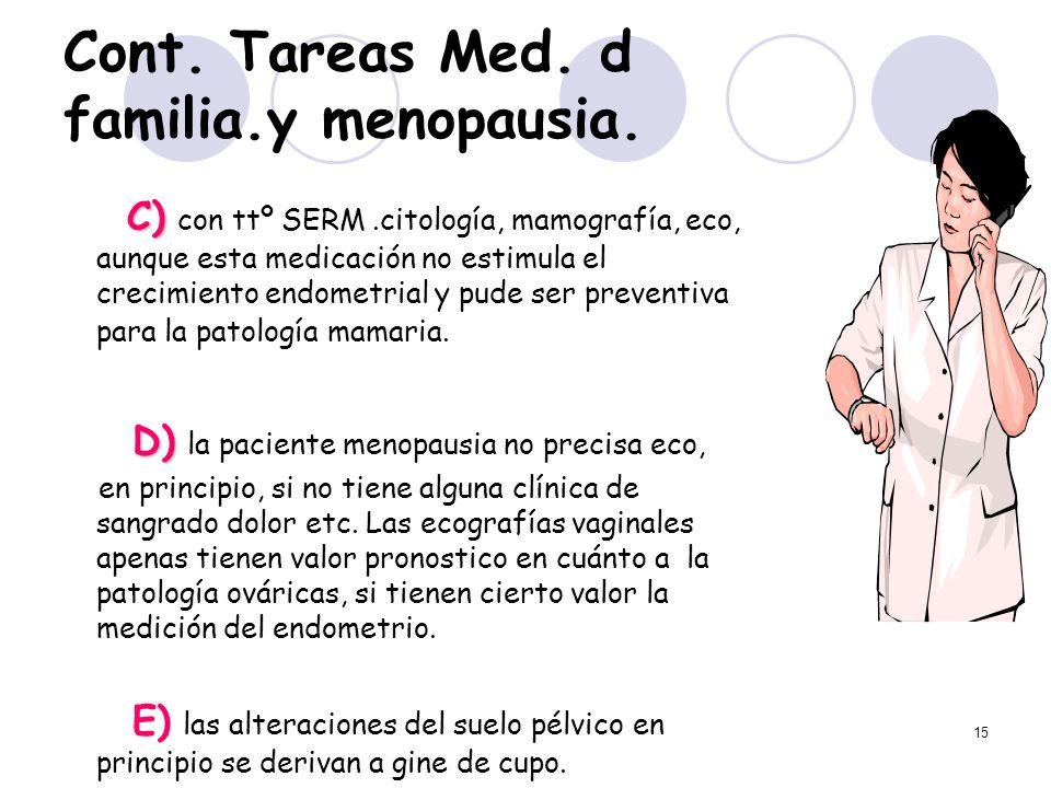 15 Cont. Tareas Med. d familia.y menopausia. C) C) con ttº SERM.citología, mamografía, eco, aunque esta medicación no estimula el crecimiento endometr