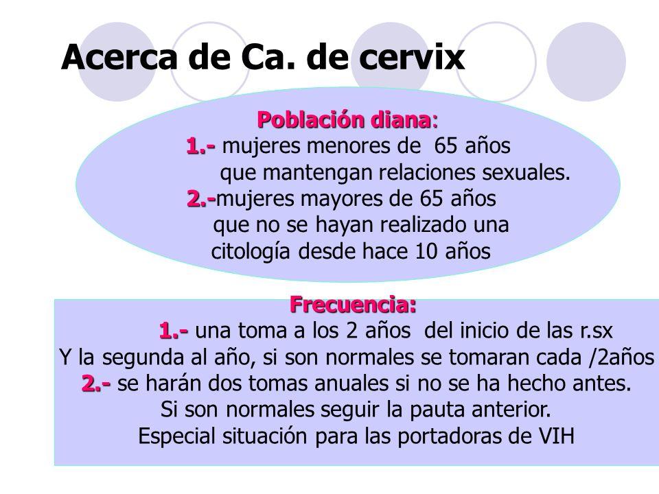 Acerca de Ca. de cervix Población diana: 1.- 1.- mujeres menores de 65 años que mantengan relaciones sexuales. 2.- 2.-mujeres mayores de 65 años que n