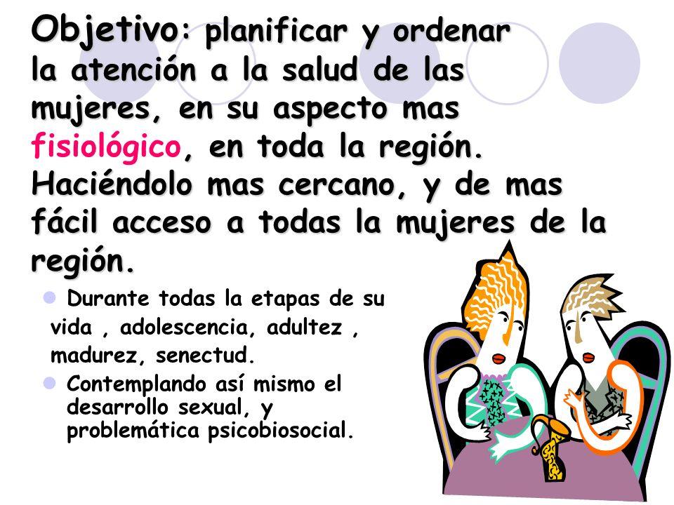 2 Objetivo : planificar y ordenar la atención a la salud de las mujeres, en su aspecto mas, en toda la región. Haciéndolo mas cercano, y de mas fácil