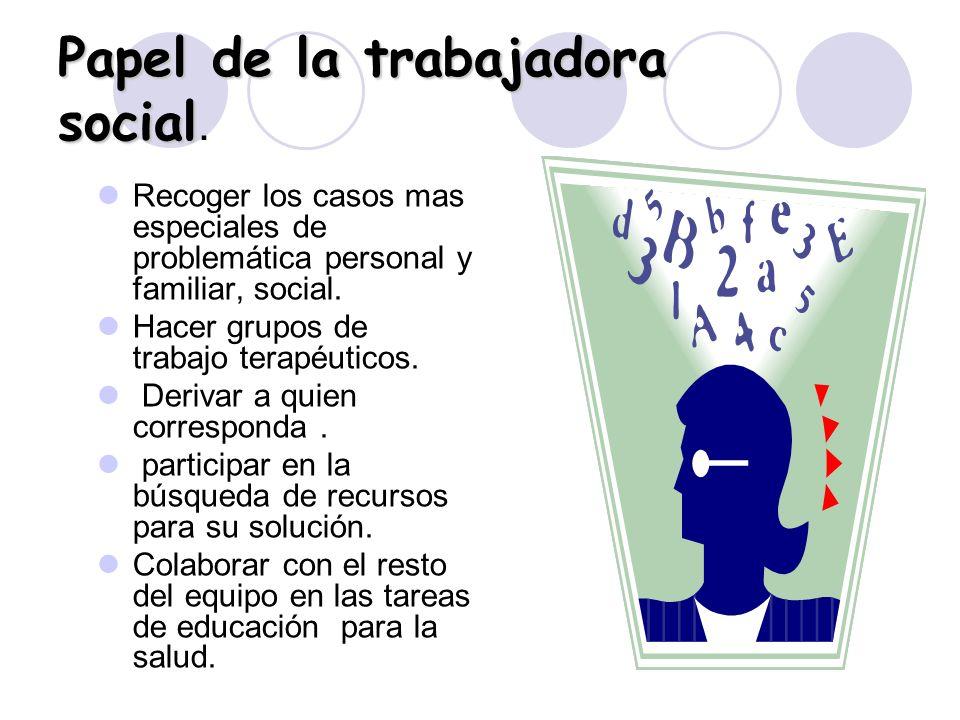 Papel de la trabajadora social Papel de la trabajadora social. Recoger los casos mas especiales de problemática personal y familiar, social. Hacer gru
