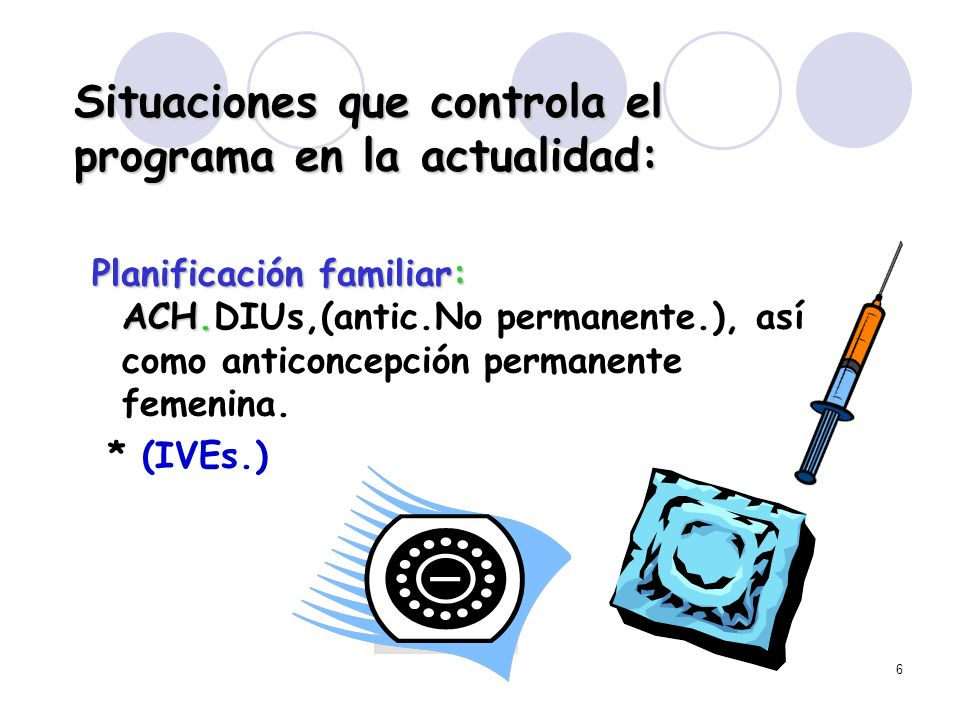 6 Situaciones que controla el programa en la actualidad: Planificación familiar: ACH. Planificación familiar: ACH.DIUs,(antic.No permanente.), así com