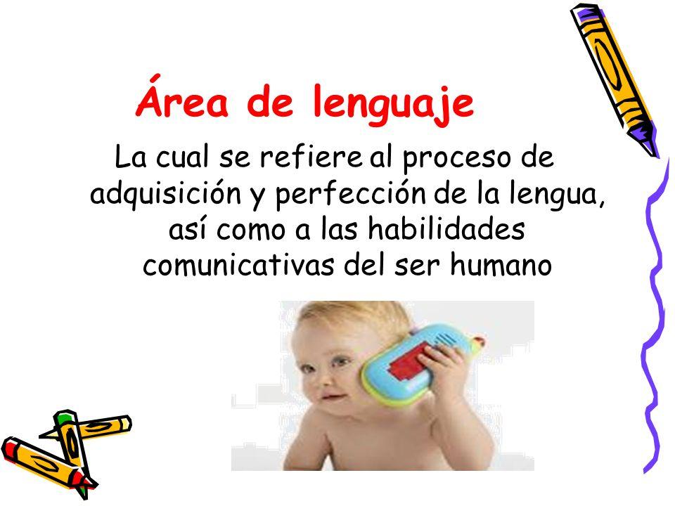 Área de lenguaje La cual se refiere al proceso de adquisición y perfección de la lengua, así como a las habilidades comunicativas del ser humano