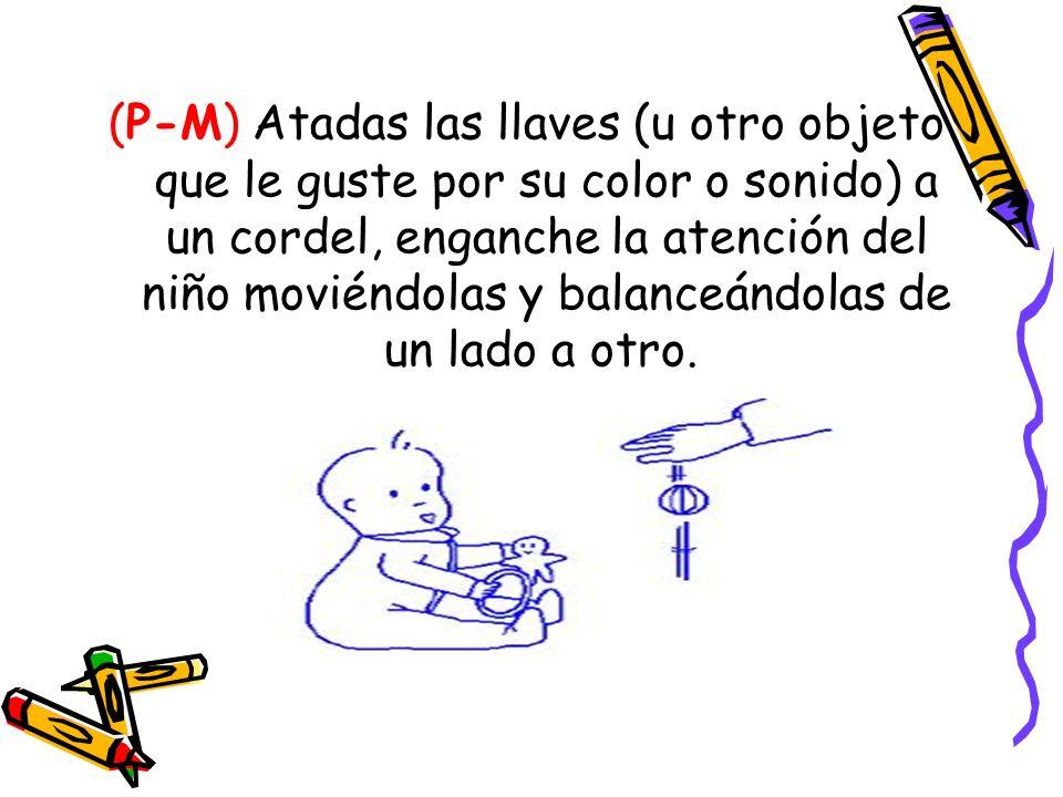 (P-M) Atadas las llaves (u otro objeto que le guste por su color o sonido) a un cordel, enganche la atención del niño moviéndolas y balanceándolas de