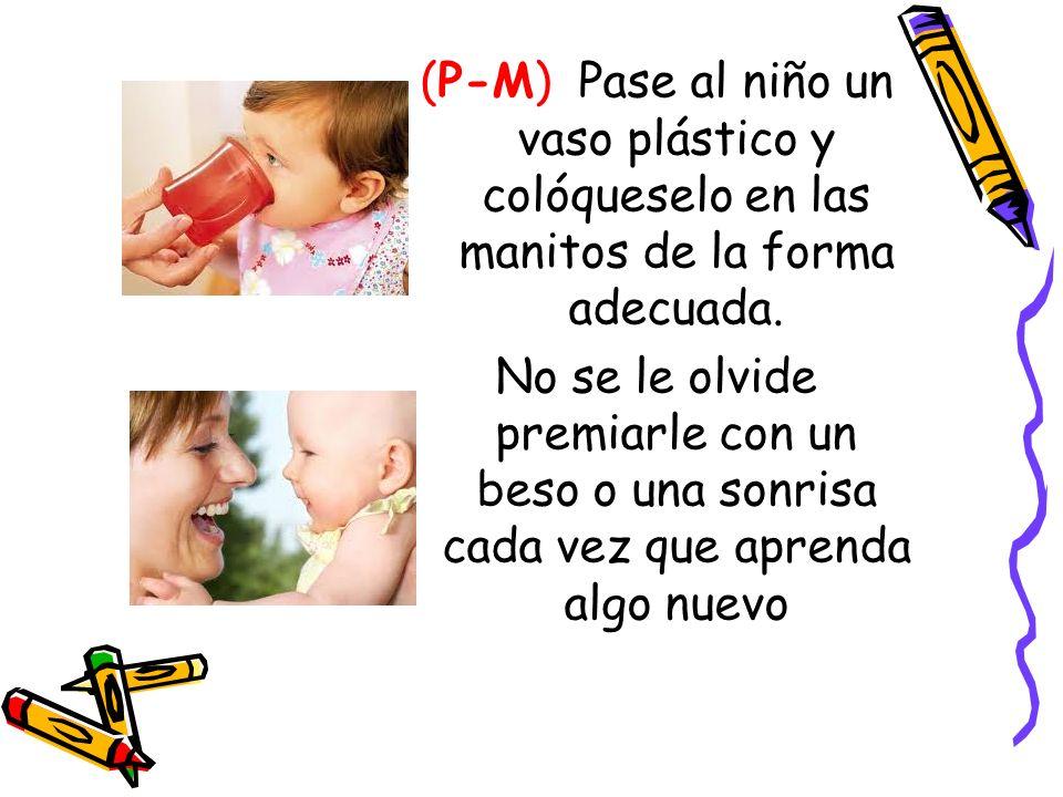 (P-M) Pase al niño un vaso plástico y colóqueselo en las manitos de la forma adecuada. No se le olvide premiarle con un beso o una sonrisa cada vez qu