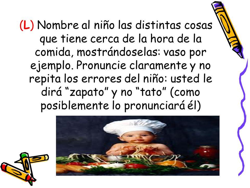 (L) Nombre al niño las distintas cosas que tiene cerca de la hora de la comida, mostrándoselas: vaso por ejemplo. Pronuncie claramente y no repita los