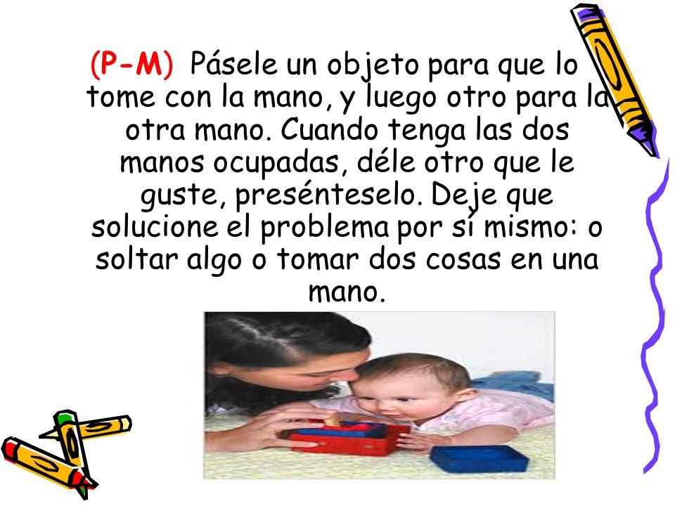 (P-M) Pásele un objeto para que lo tome con la mano, y luego otro para la otra mano. Cuando tenga las dos manos ocupadas, déle otro que le guste, pres