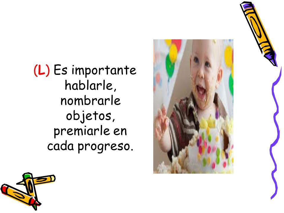 (L) Es importante hablarle, nombrarle objetos, premiarle en cada progreso.