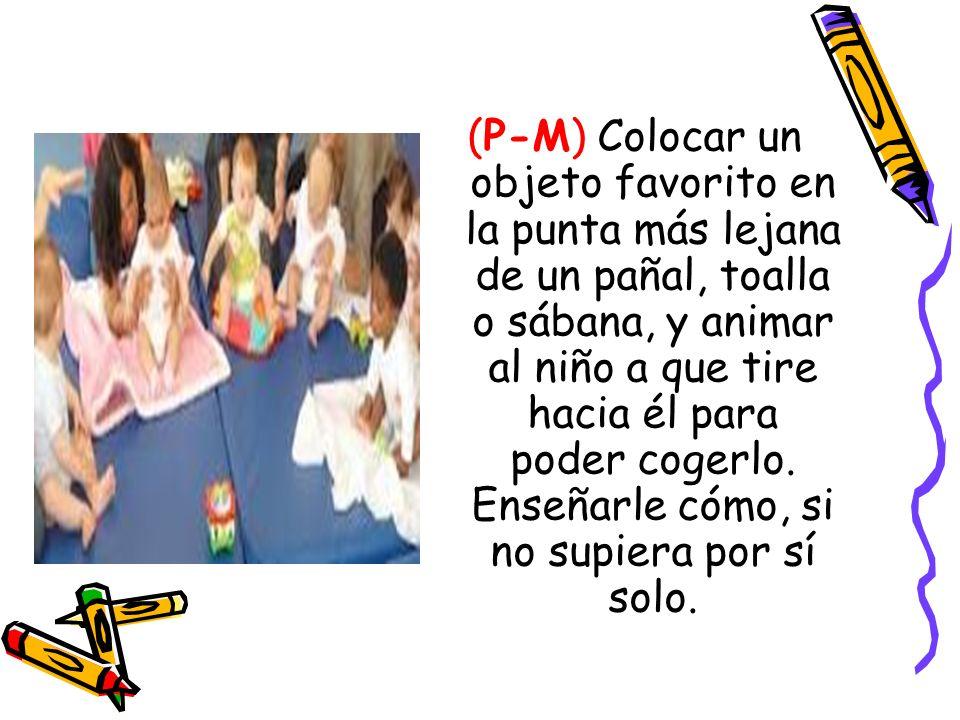 (P-M) Colocar un objeto favorito en la punta más lejana de un pañal, toalla o sábana, y animar al niño a que tire hacia él para poder cogerlo. Enseñar