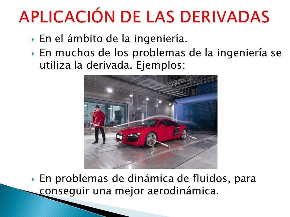 En el ámbito de la ingeniería. En muchos de los problemas de la ingeniería se utiliza la derivada. Ejemplos: En problemas de dinámica de fluidos, para