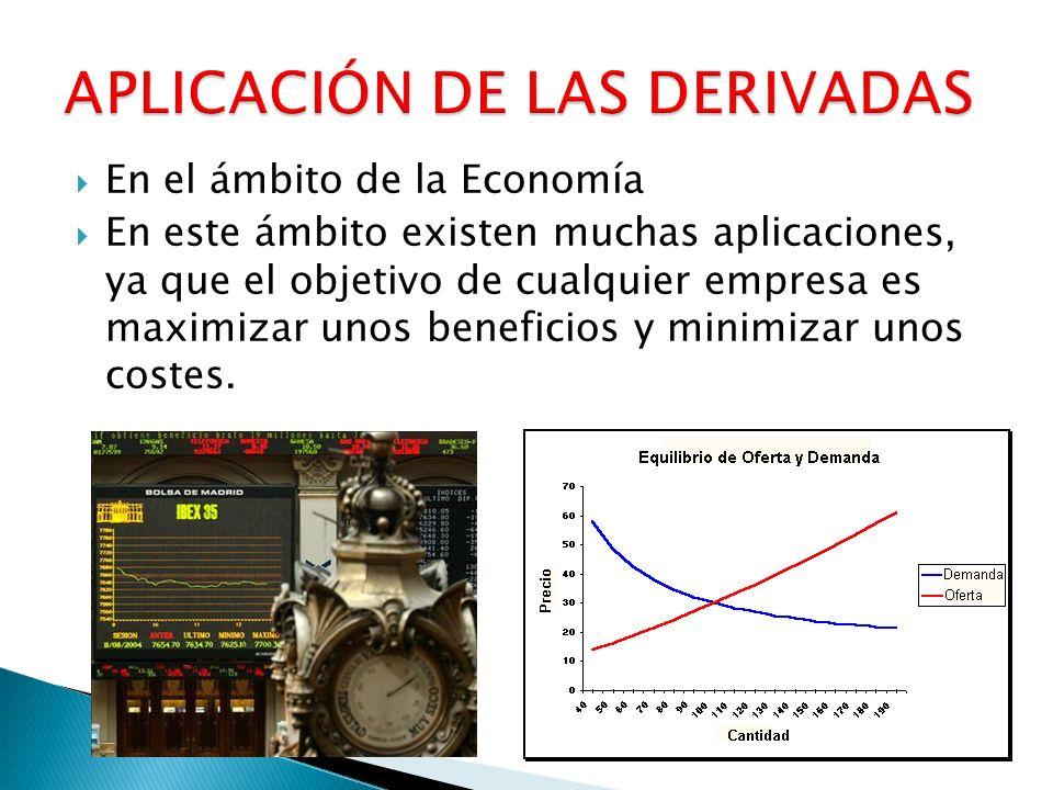 En el ámbito de la Economía En este ámbito existen muchas aplicaciones, ya que el objetivo de cualquier empresa es maximizar unos beneficios y minimiz