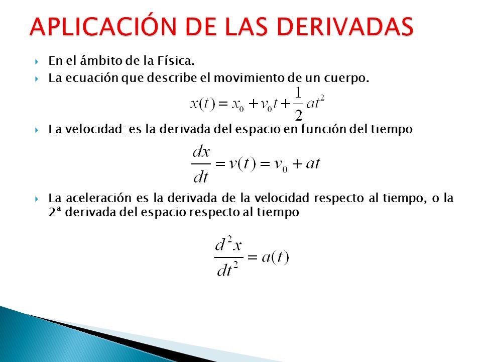 En el ámbito de la Física. La ecuación que describe el movimiento de un cuerpo. La velocidad: es la derivada del espacio en función del tiempo La acel
