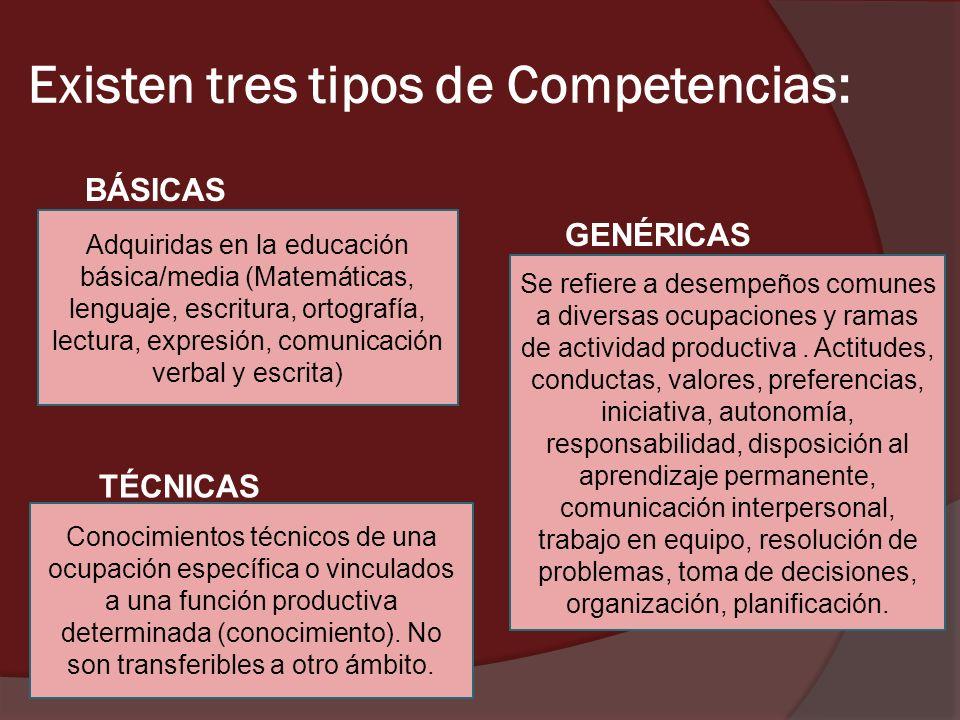 Existen tres tipos de Competencias: Adquiridas en la educación básica/media (Matemáticas, lenguaje, escritura, ortografía, lectura, expresión, comunic