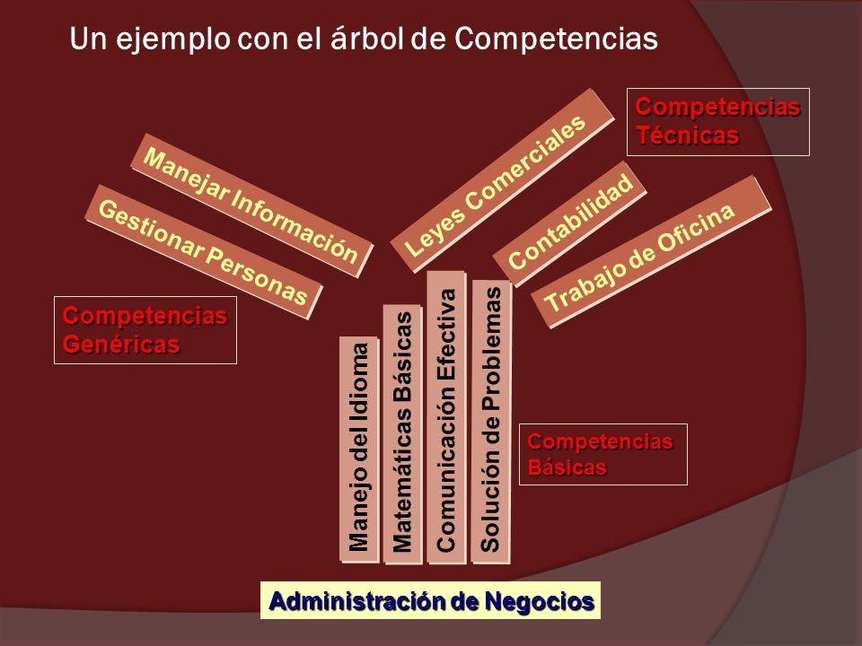 Un ejemplo con el árbol de Competencias Administración de Negocios Manejo del Idioma Matemáticas Básicas Comunicación Efectiva Solución de Problemas T