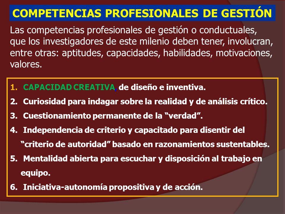 COMPETENCIAS PROFESIONALES DE GESTIÓN Las competencias profesionales de gestión o conductuales, que los investigadores de este milenio deben tener, in