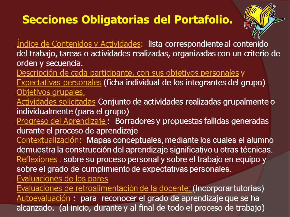 Secciones Obligatorias del Portafolio. Índice de Contenidos y Actividades: lista correspondiente al contenido del trabajo, tareas o actividades realiz