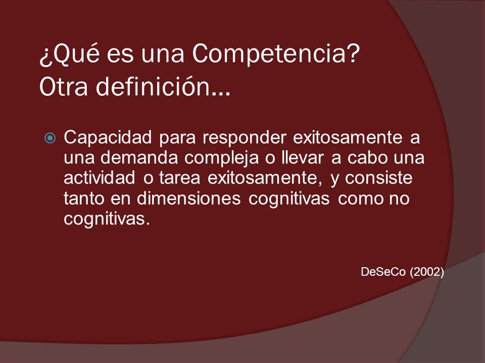 ¿Qué es una Competencia? Otra definición… Capacidad para responder exitosamente a una demanda compleja o llevar a cabo una actividad o tarea exitosame
