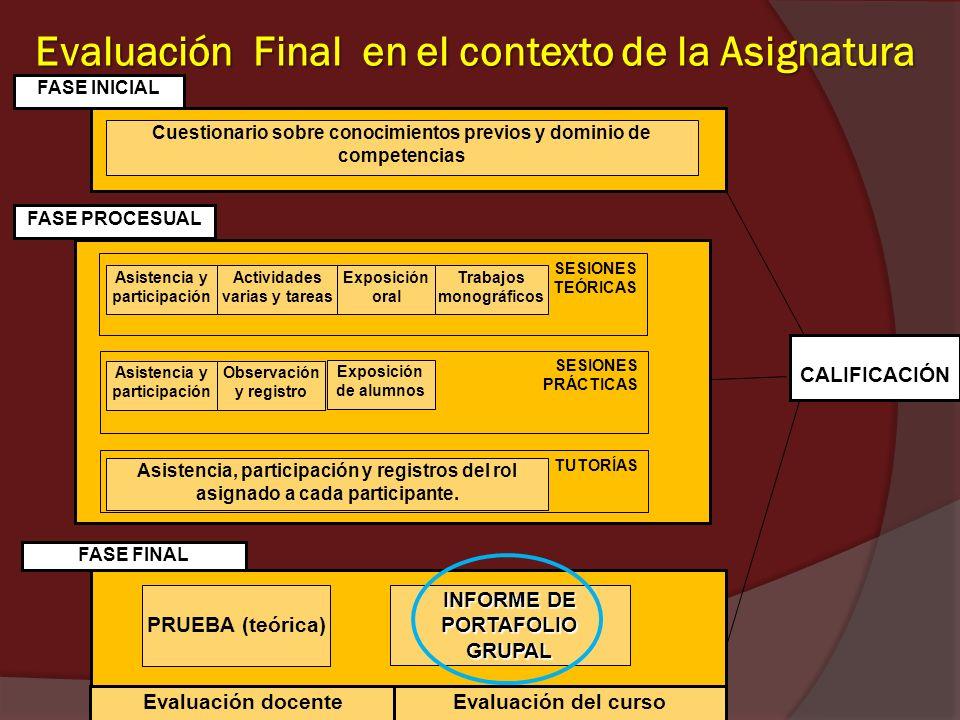 Evaluación Final en el contexto de la Asignatura FASE INICIAL Cuestionario sobre conocimientos previos y dominio de competencias FASE PROCESUAL FASE F