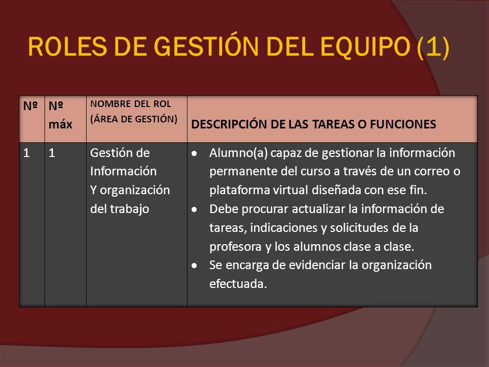 ROLES DE GESTIÓN DEL EQUIPO (1)