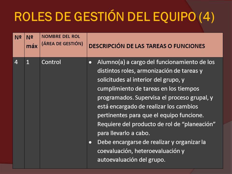 ROLES DE GESTIÓN DEL EQUIPO (4) Nº Nº máx NOMBRE DEL ROL (ÁREA DE GESTIÓN) DESCRIPCIÓN DE LAS TAREAS O FUNCIONES 41Control Alumno(a) a cargo del funci