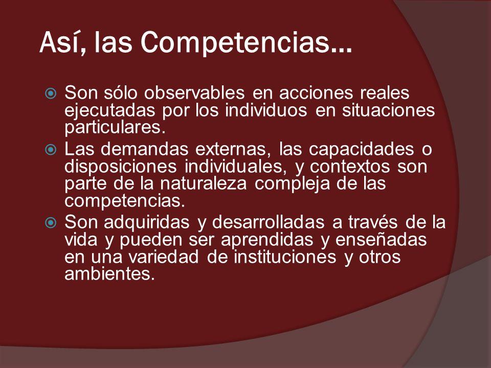 Así, las Competencias… Son sólo observables en acciones reales ejecutadas por los individuos en situaciones particulares. Las demandas externas, las c