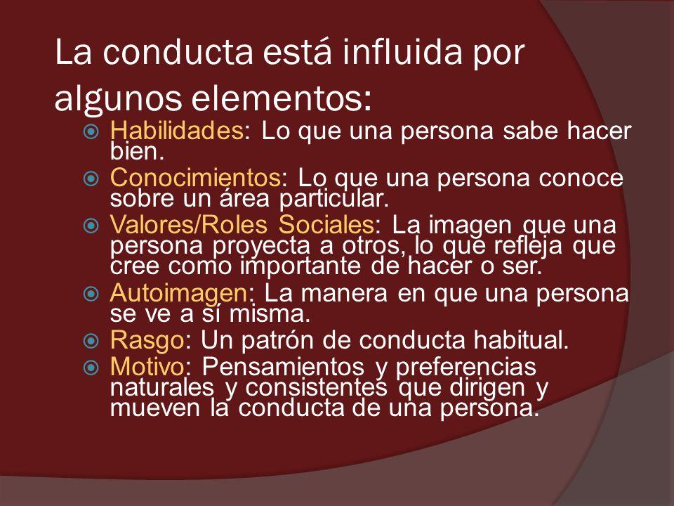 La conducta está influida por algunos elementos: Habilidades: Lo que una persona sabe hacer bien. Conocimientos: Lo que una persona conoce sobre un ár